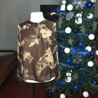 PLUS SIZE X-Quisite Brown Floral Blouse