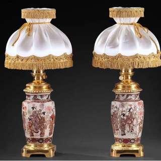 欣賞:日本明治時代的薩摩燒花瓶古董臺燈