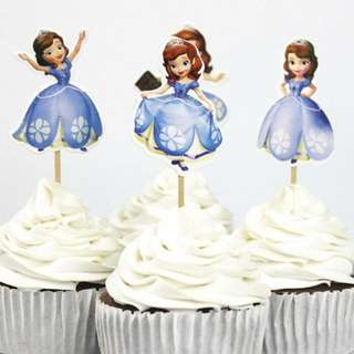 12 pcs Sofia The First Disney Princess Cupcake Toppers Cake Topper Muffin Decoration Baking Picks Birthday Party