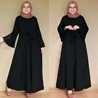 Vs MX LARISSA HITAM l atasan fashion baju muslim gamis wolfis wanita