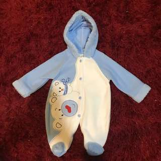 Baby romper with hood