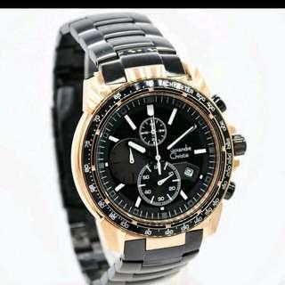 Jam tangan Alexandre Christie pria original Ac 6480 Black Rosegold
