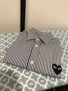 Comme des garcon PLAY heart patch striped shirt