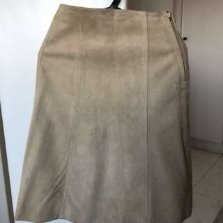Women's suede leather skirt
