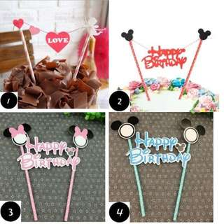 [FREE POSTAGE!] Happy Birthday Baby Mickey Minnie Cake Bunting / Topper / Flag / Banner