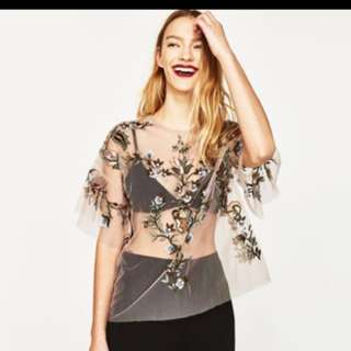 Zara embroidered mesh tulle top #15Off