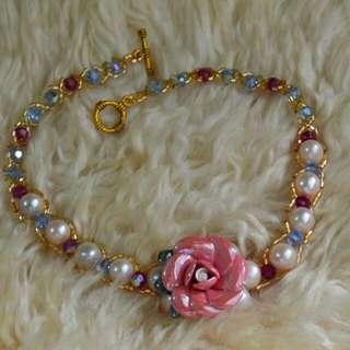 Kalung mutiara lombok swarovski_Pink Rose handmade