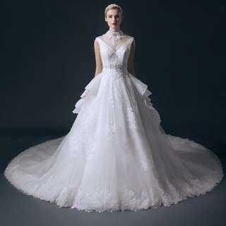 Vintage Design Turtle Neck Hollow Beading Cathedral Train Wedding Dresses