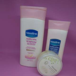 Paket cantik putih bersinar Vaseline day n night lotion + free  wardah body butter