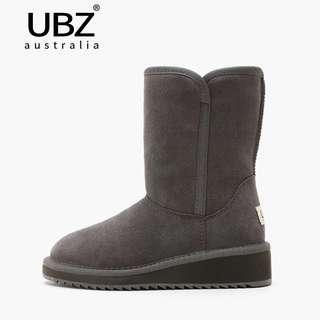 ♥️新品包郵♥️UBZ 2018新款雪地靴女冬 中筒坡跟加厚 韓版保暖真皮防滑女靴子