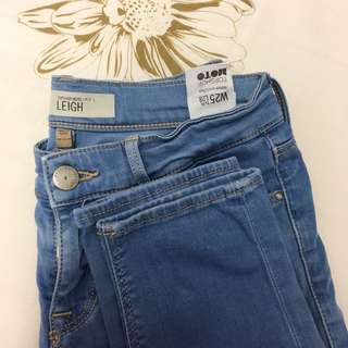 #15off Authentic Topshop Petite Moto Mid Blue Leigh Jeans