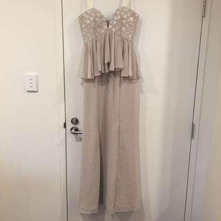 Bariano Cream Peplum Formal Dress