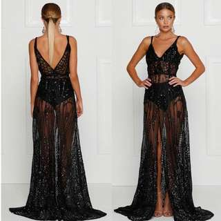 Alamour Sheer Sequin Gown