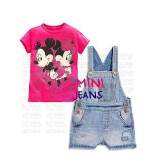 Overall and tshirt mickey minnie