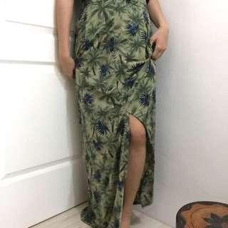 Summer maxi skirt green