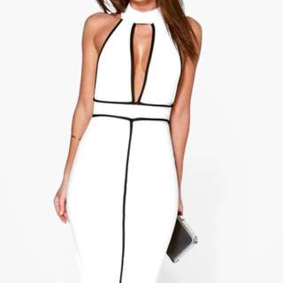 High Neck Contrast Piping Midi Dress