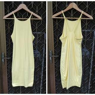 KOOKAI Vacant mini dress light yellow high neck strappy open back bodycon pale bright