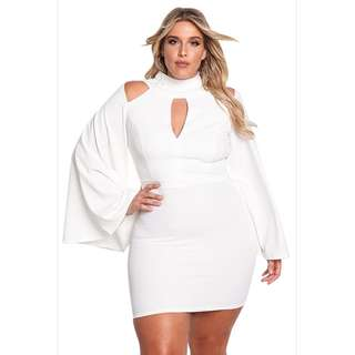 PRE-ORDER - Plus Size White Peekaboo Keyhole Bell Sleeve Bodycon Sexy Dress
