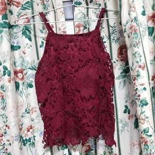 Maroon crochet top
