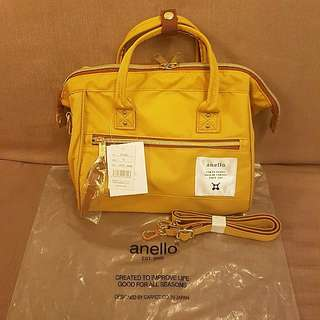 💯Authentic Anello Mini Boston Limited Yellow Colour Sling Bag High Density Canvas Brand New with Tag from Japan!