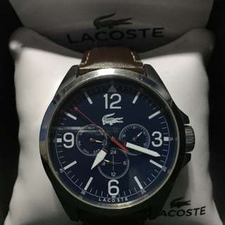 Lacoste leather dress watch