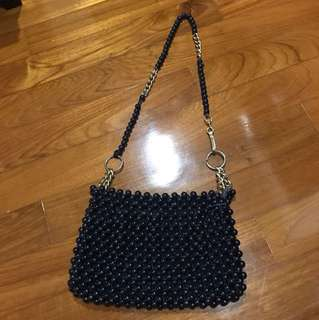 Vintage 70s Navy BLue Bobble Beaded Handbag with Detachable Gold Strap