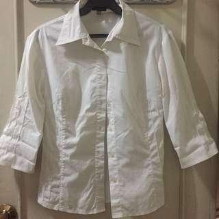 White 3/4 sleeves blouse