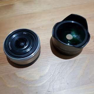 Sony 16mm f2.8 SEL16F28 wide angle lens and fisheye converter VCL-EF2 PL preloved good condition e-mount