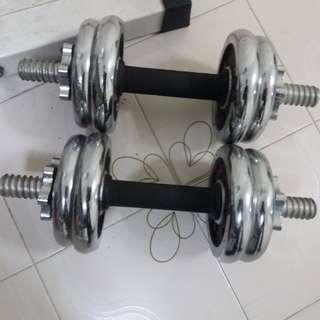 Dumbell , Barbell , Curl bar , squat & Bench