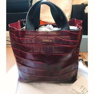 Italy Furla brown red leather handbag bag tote kate spade ted baker lane crawford wallet 意大利名牌靚酒紅色真皮特別壓紋真皮手袋