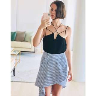 Sheike black slinky cami / camisole top with strappy detail