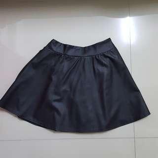 Pu leather skater skirt
