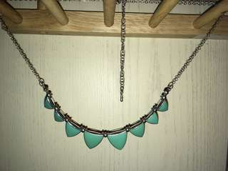 Aztec desgin teal necklace