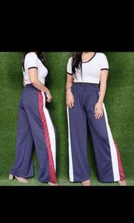 Navy Blue Track Pants With Slit