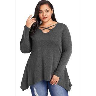 PRE-ORDER - Plus Size Dark Gray Criss Cross Sexy Slanted Pockets Blouse Top