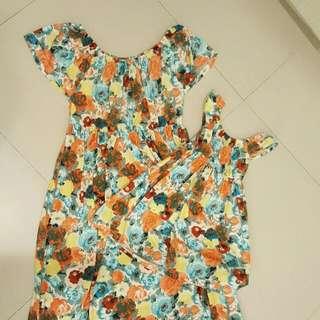 Mom&Daughter Off-Shoulder Floral Maxi Dress