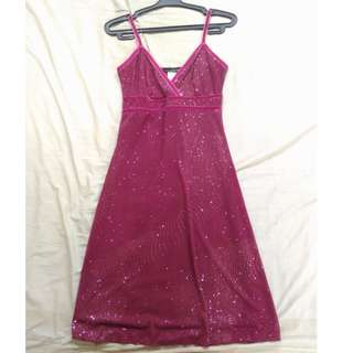 Fuschia pink sparkly cocktail dress