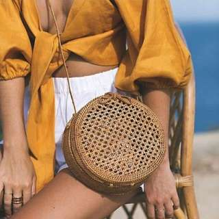 Round Net Rattan Bag in Ribbon or Leather Lock