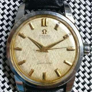 Omega Seamaster 亞米茄古董錶,原裝面無番寫,金字金針,代用皮帶,501自動機芯,已抹油,行走精神 ,塑膠上蓋,直徑34mm不連霸的 ,淨錶$4800,有意請pm