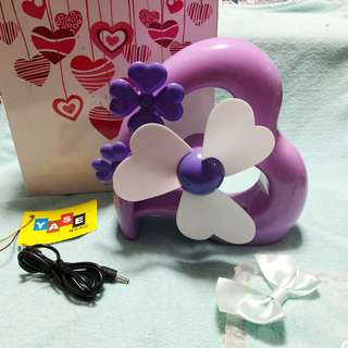 Portable And Chargeable Small Heart Shape Standing Fan
