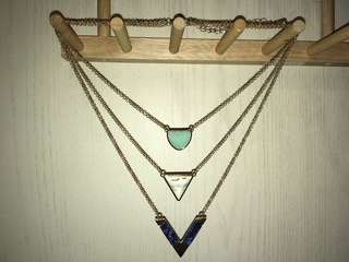 Triple-layered necklace (Gold chain with Mint, White, and Dark Blue stone)