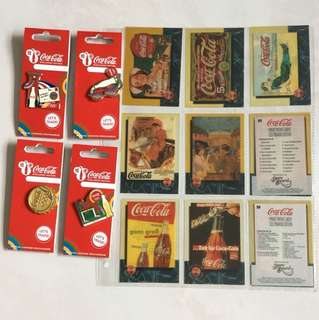Vintage Coca-Cola SPRINT PHONE CARDS (complete set) + Coca-Cola pins (set of 4)