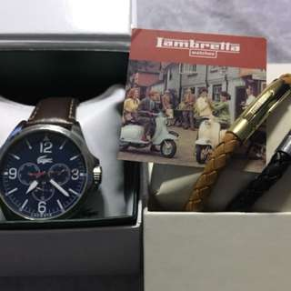 Lacoste Watch and Lambretta leather bracelet duo