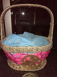 Hamper basket gold & white