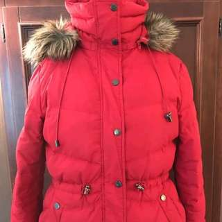 KENNETH COLE WOMEN'S REMOVABLE FUR HOOD GOOSE DOWN WINTER JACKET, RED LARGE