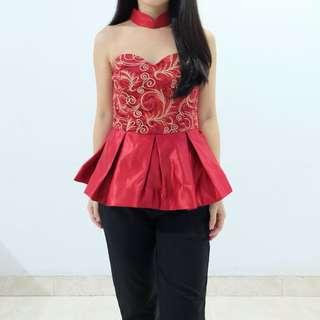 PRELOVED cheongsam red top