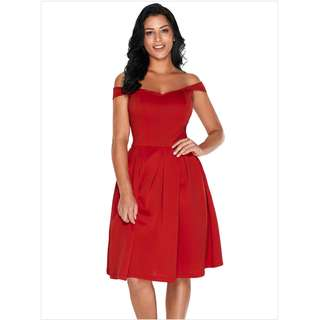 PRE-ORDER - Plus / Small Size Red Sweetheart Sexy Shoulder Pompom Mid Dress