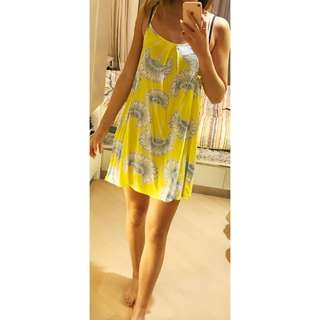 Yellow floral summer dress size S
