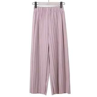 Pleated long pant with tassel waist ban