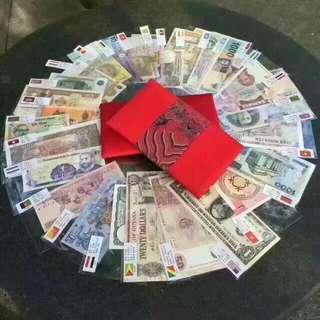 全新💕52張28國全新通用貨幣+刺繡布包